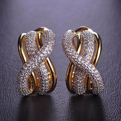 """""""Karam"""" - Twist Cubic Zirconia Earrings"""