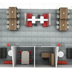 A plan view of a collaborative, technology integrated, modern study lounge. Two enclosed rooms are comprised of modular systems architecture providing acoustic and reconfigure benefits. An instructor has a dedicated office. All soft seating is easily reconfigurable and branded for a sense of community.