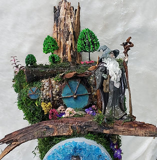 Gandalf Arrives at Bag End in Hobbiton Handmade Mailbox Sculpture