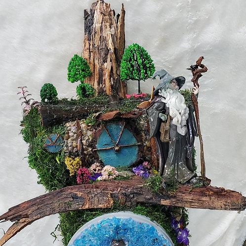Gandalf Arrives at Bag End in Hobbiton Handmade Mailbox Sculpture