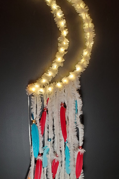 Light up half moon (natural or red/turquoise)