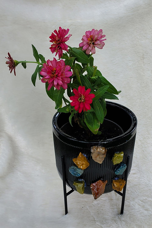 Small Flowerpot and Stand with a Gemstone Circle for Protection and Support