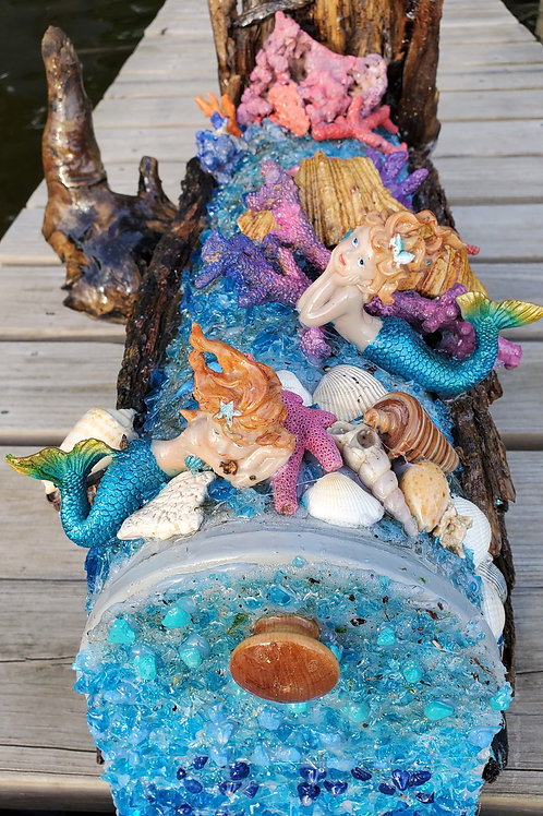 Twin Mermaids Swim Among Vibrant Colored Creatures in a Turquoise Sea Mailbox