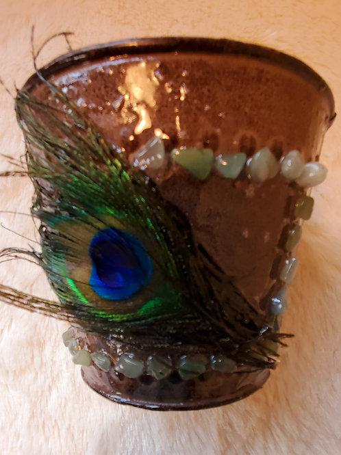 Peacock Crystal Small Metal Flowerpot