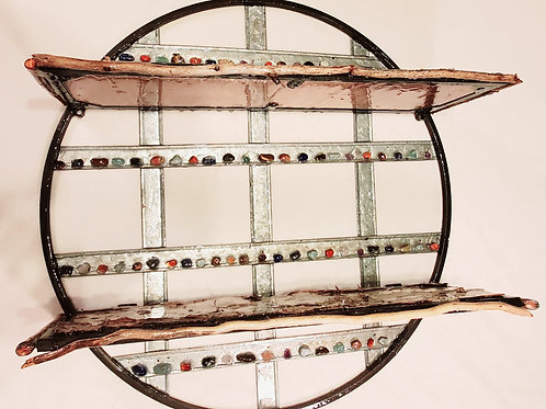 Birch, Driftwood and Gems Enrich this Indoor/Outdoor Wall Shelving
