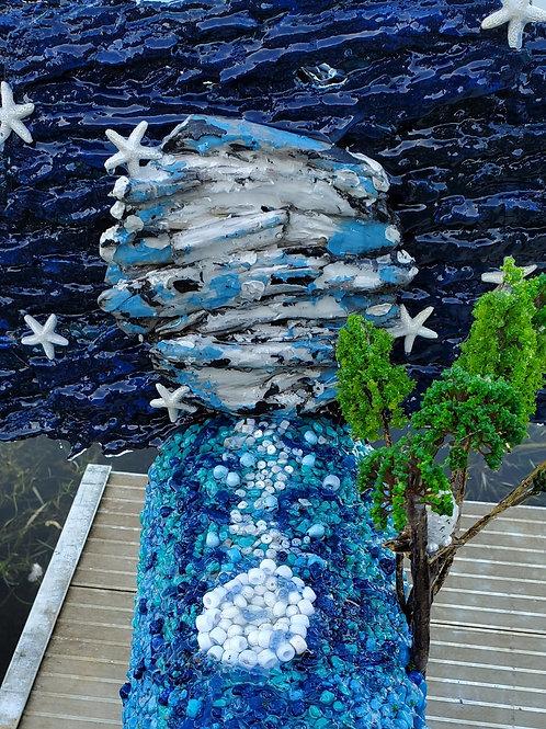 Blue Reflecting Moon Handmade Mailbox Sculpture