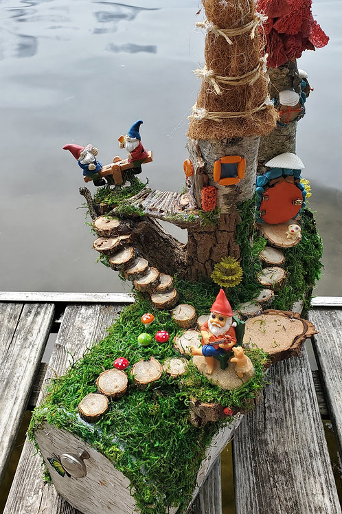 A Playful Gnome Size Tree House Village Handmade Mailbox Sculpture