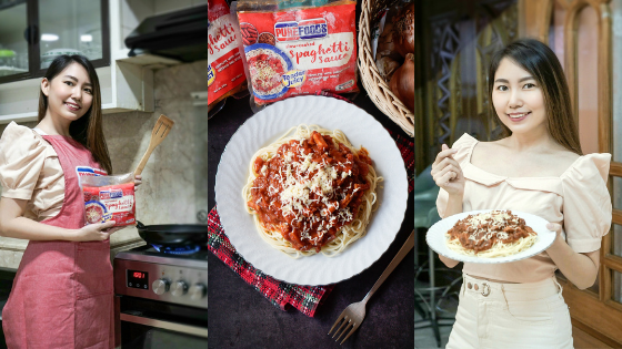 Pinoy-style Spaghetti Recipe using Purefoods Slow-cooked Spaghetti Sauce w/ the #1 TJ Hotdog