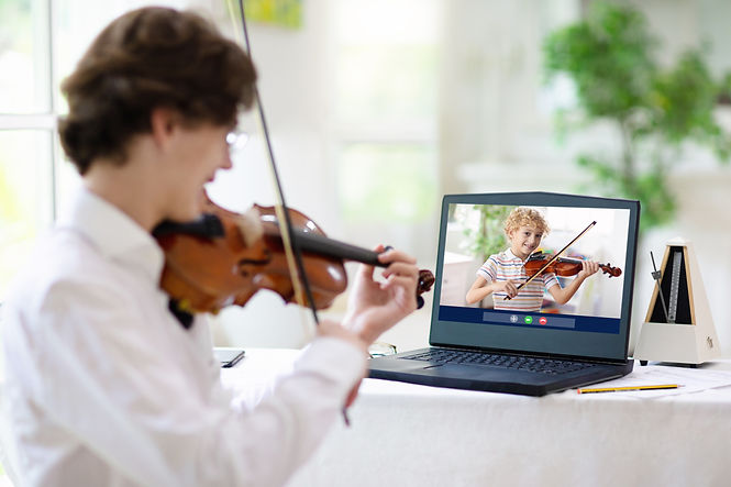 Violin lesson online. Teacher and child