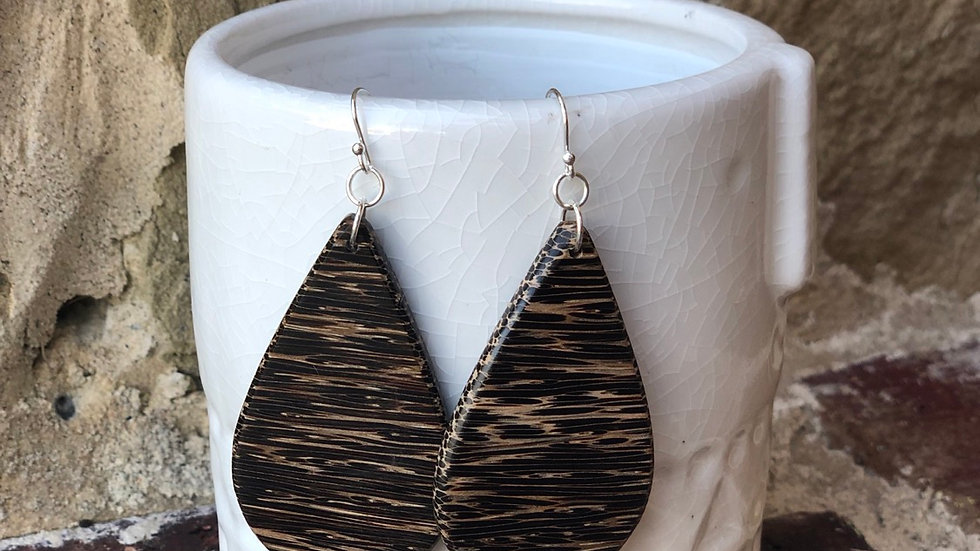 Large Black Palm wood Earrings