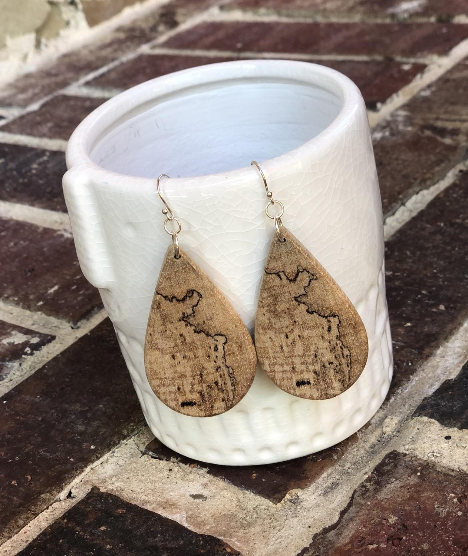 Thumbnail: Spalted Pecan Wood Teardrop Earrings