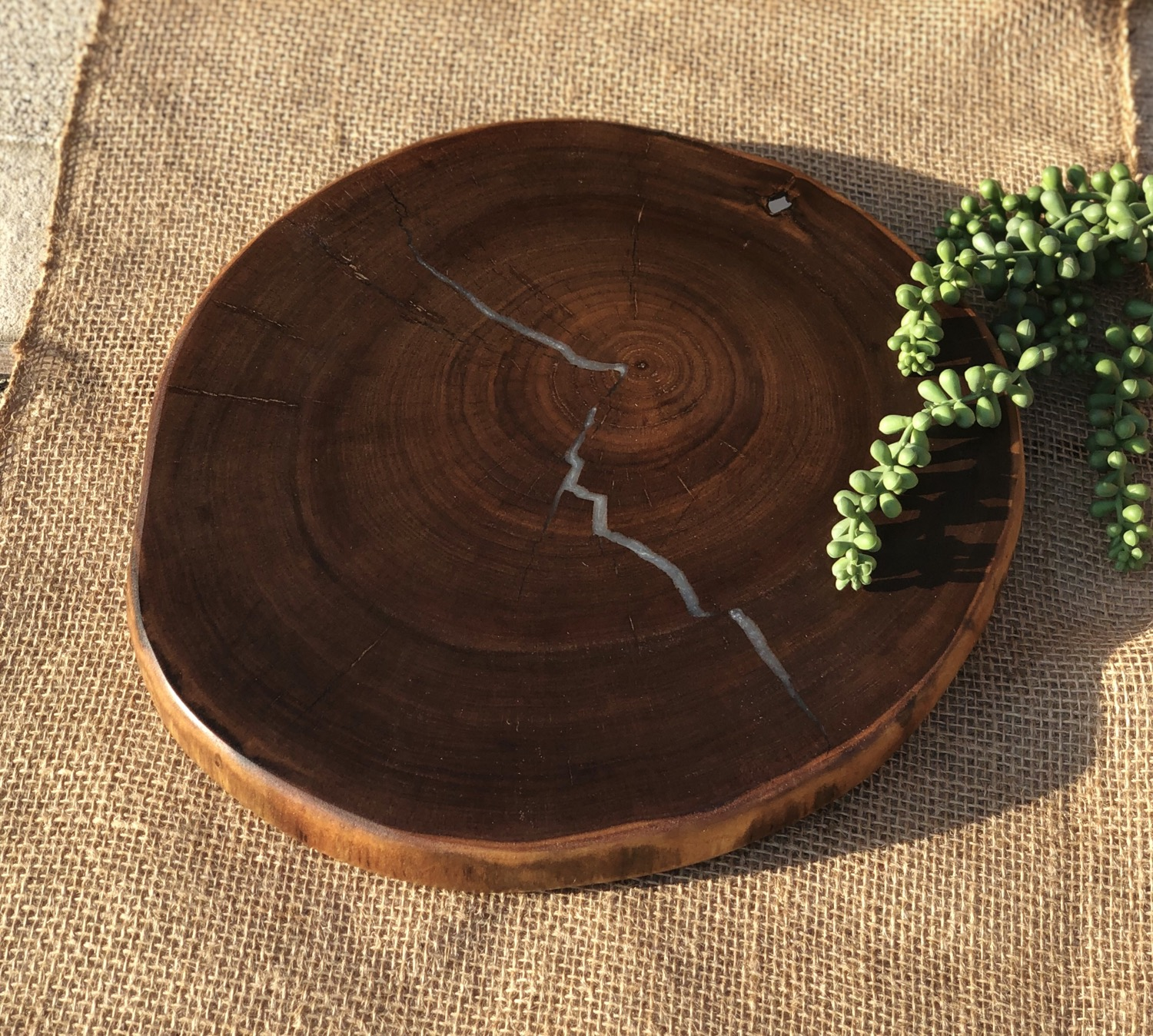 Walnut and epoxy stump - for entertaining