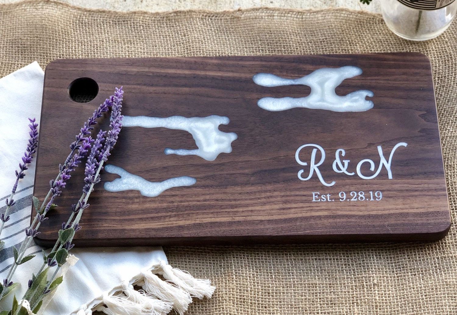 Walnut Charcuterie Board, Engraveable - Great wedding gifts, anniversary gift