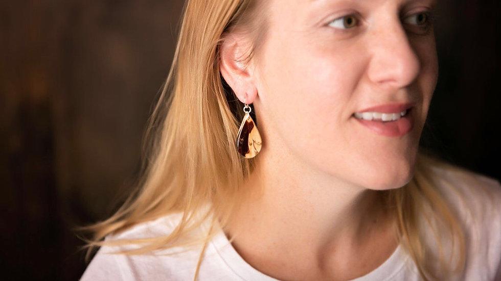 Petite Spalted Tamarind Teardrop Earring