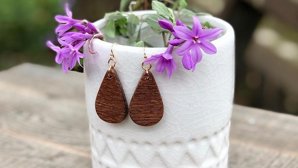 Lace Wood Petite Teardrop Earrings