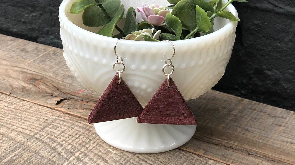 Purpleheart Wood Triangle Earrings