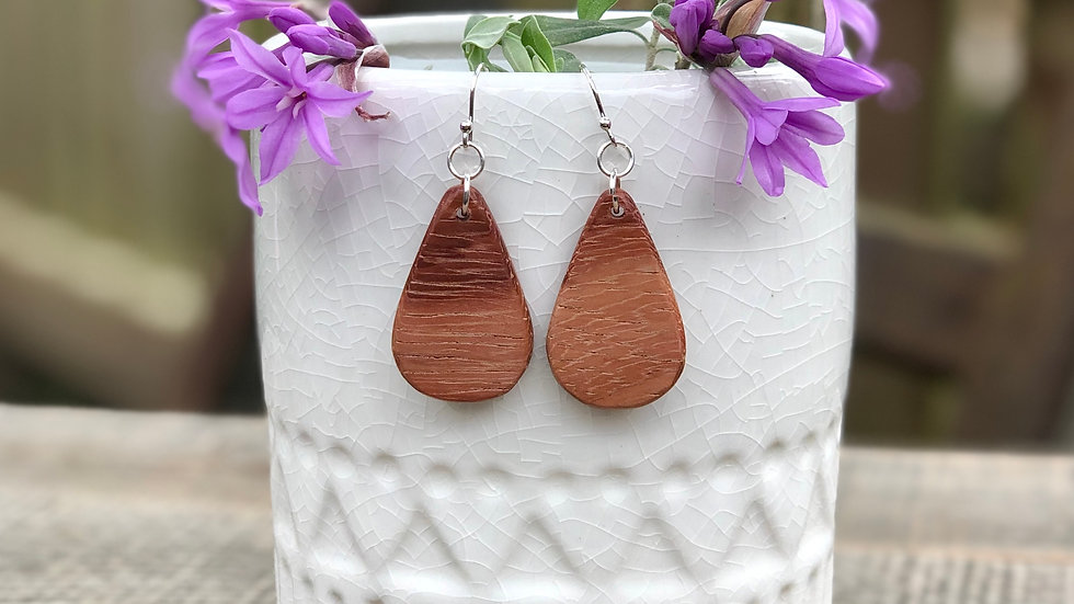 Blood Wood Petite Tear Drop Earrings