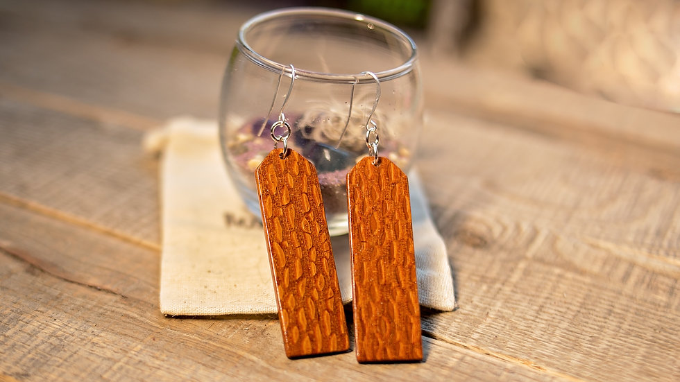 Lace Wood Hand Carved Earrings
