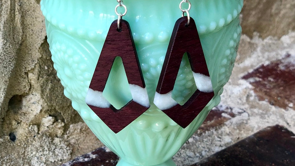 Purpleheart wood and resin earrings, Great Valentines Day Gifts!