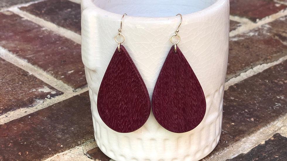 Purple Heart Wood Teardrop Earrings