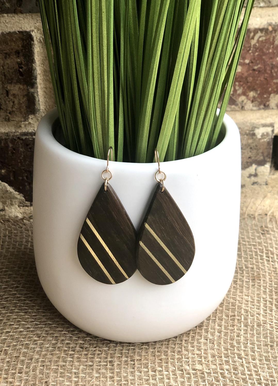 Brass and Texas Ebony Wood Earrings