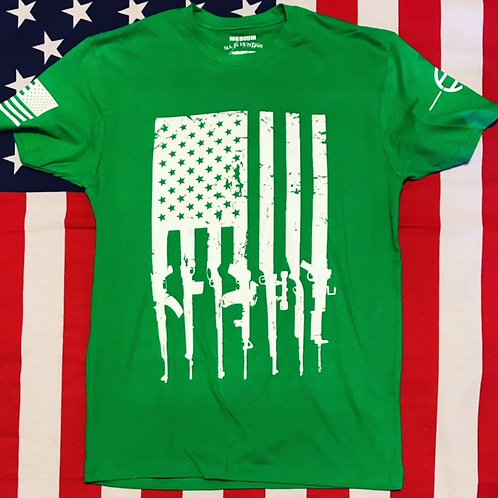 Men's Green shirt with white print GUN FLAG
