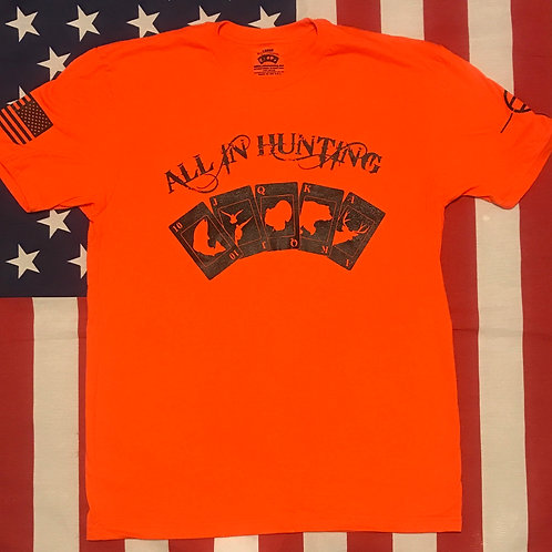 Men's all in hunting logo short sleeve shirt Blaze orange with black print