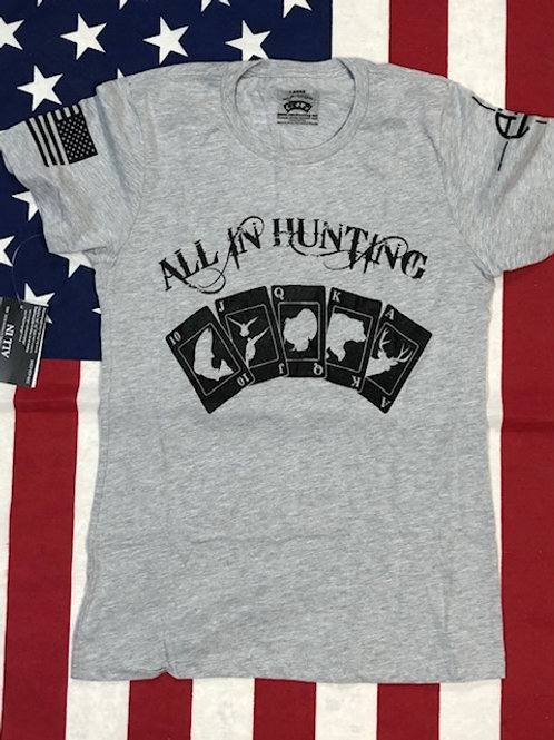 women's ALL IN HUNTING gray shirt