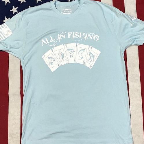 Men's Light Blue ALL IN FISHING Logo shirt