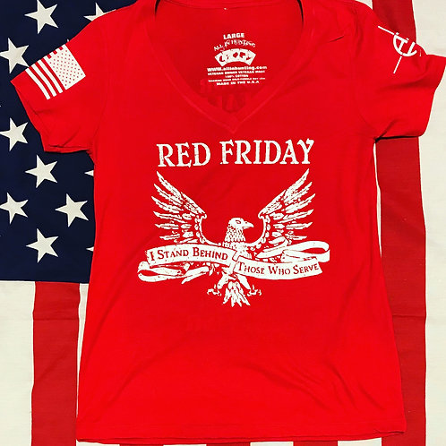 Ladies red Shirt white print red frieday