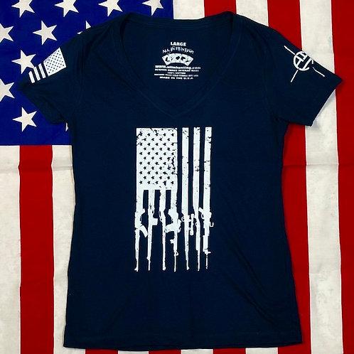 Lady's navy blue GUN FLAG V-neck shirt