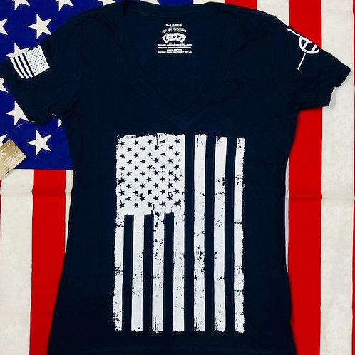 Women's Navy Blue V-neck Flag shirt