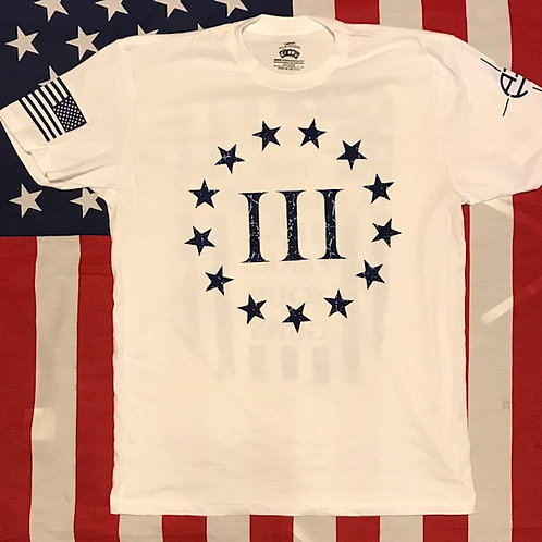 Men's 3% frear the government White shirt with navy print