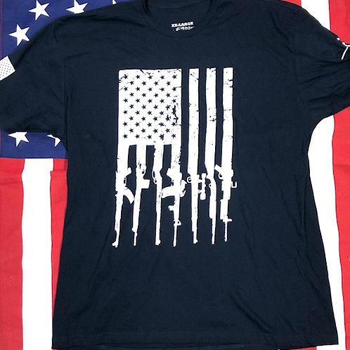 Men's Navy Blue GUN FLAG shirt