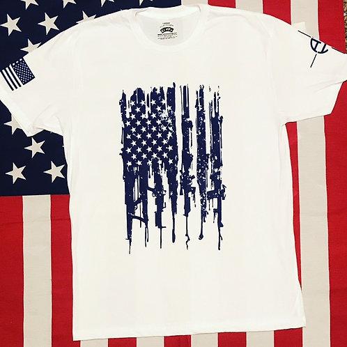 Men's white bleeding Gun Flag shirt with navy print
