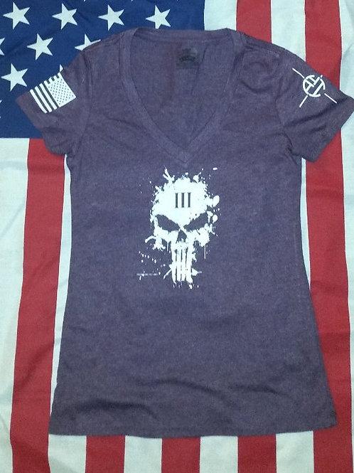 Women's Purple deep V-neck shirt with 3% skull splatter