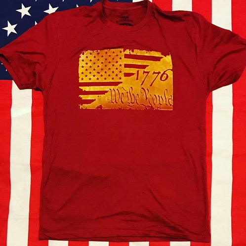 Men's Cardinal color shirt 1776 we the people flag with yellow print
