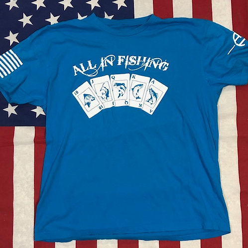 Mens's Turquoise ALL IN FISHING shirt