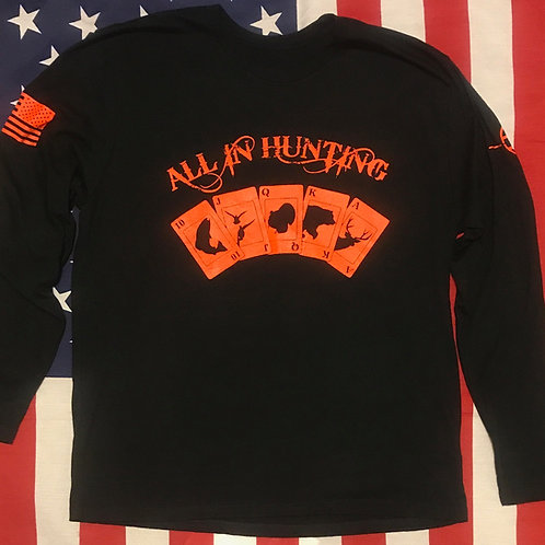 Men's all in hunting logo long sleeve Black Shirt with orange print