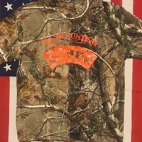 Men's all in hunting short Sleeve shirt/all in hunting Logo in orange print