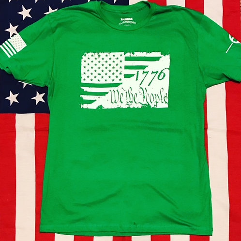 Men's green shirt with 1776 WE THE PEOPLE FLAG