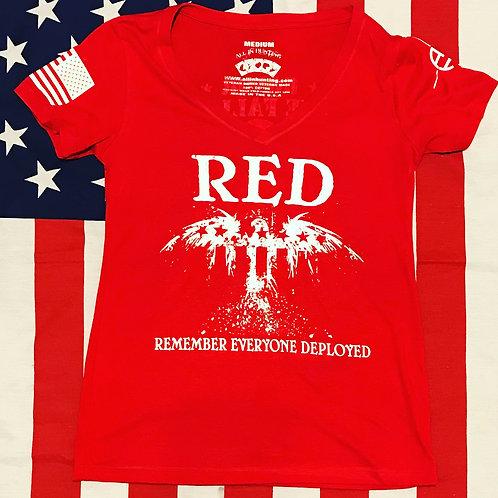Women's RED flag/eagle  red V-neck shirt white print