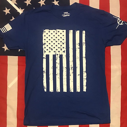 Men's Royal blue shirt with american flag