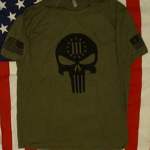 Men's O.D. Green shirt with 3% skull