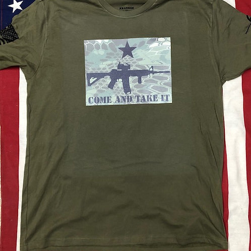 O.D. Green shirt with KRYPTEK camo print. COME AND TAKE IT