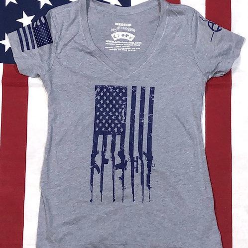 Women's V-neck Gray GUN FLAG shirt