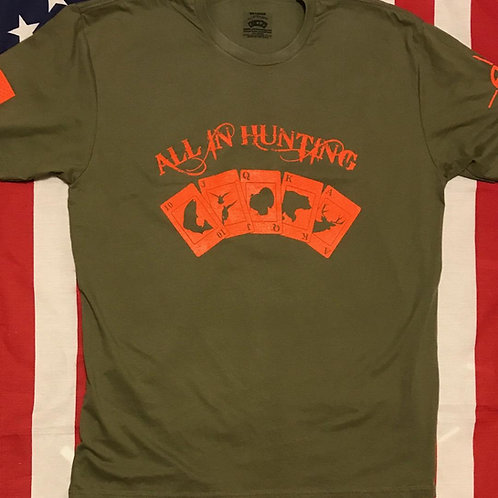 Men's O.D. green short sleeve shirt with all in hunting logo orange