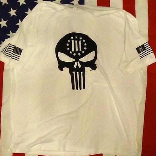 Men's white shirt with 3 percenter skull