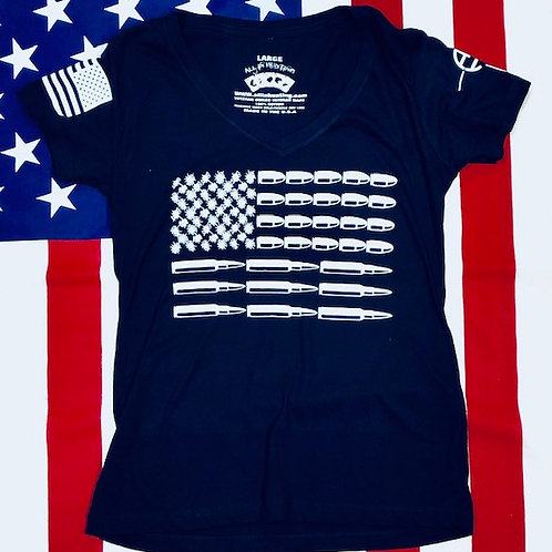 Women's Navy Blue BULLET FLAG shirt