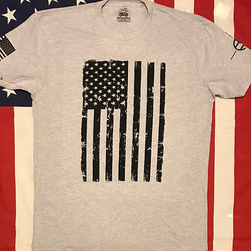Men's Gray shirt with american flag in black print